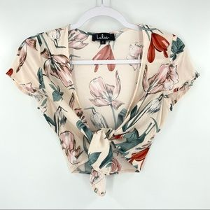 Lulus Cream Floral Tie Front Crop Top Small
